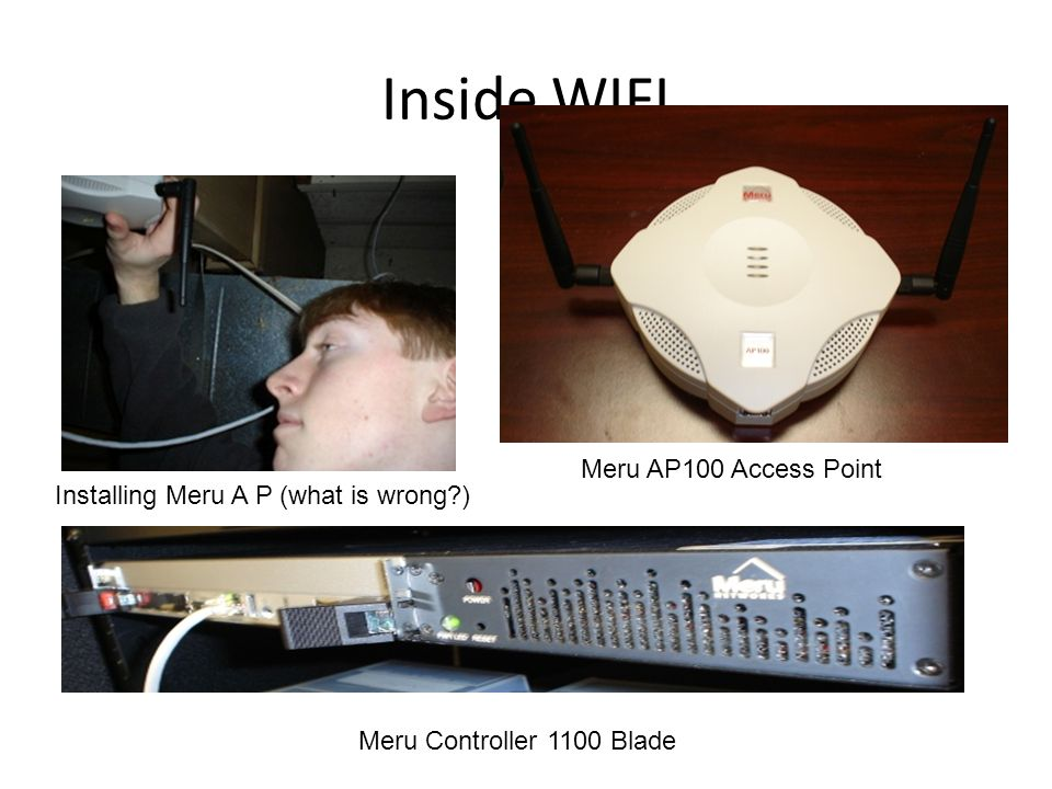Inside WIFI Installing Meru A P (what is wrong?) Meru AP100 Access Point Meru Controller 1100 Blade