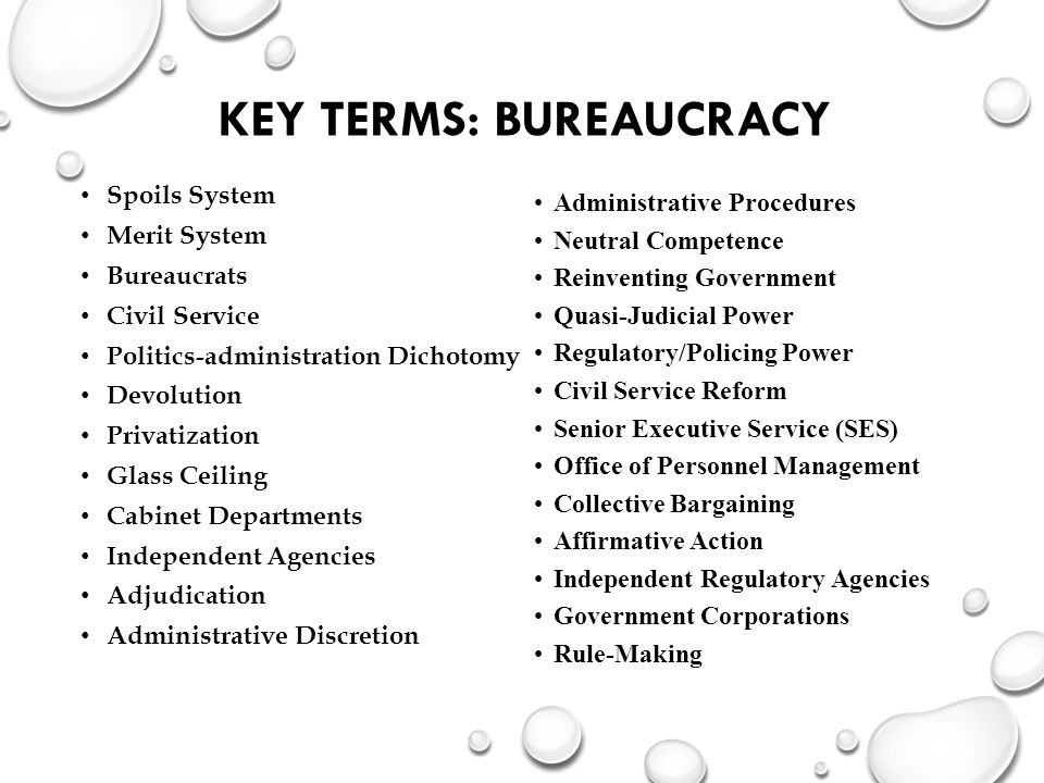 KEY TERMS: BUREAUCRACY Spoils System Merit System Bureaucrats Civil Service Politics-administration Dichotomy Devolution Privatization Glass Ceiling Cabinet Departments Independent Agencies Adjudication Administrative Discretion Administrative Procedures Neutral Competence Reinventing Government Quasi-Judicial Power Regulatory/Policing Power Civil Service Reform Senior Executive Service (SES) Office of Personnel Management Collective Bargaining Affirmative Action Independent Regulatory Agencies Government Corporations Rule-Making