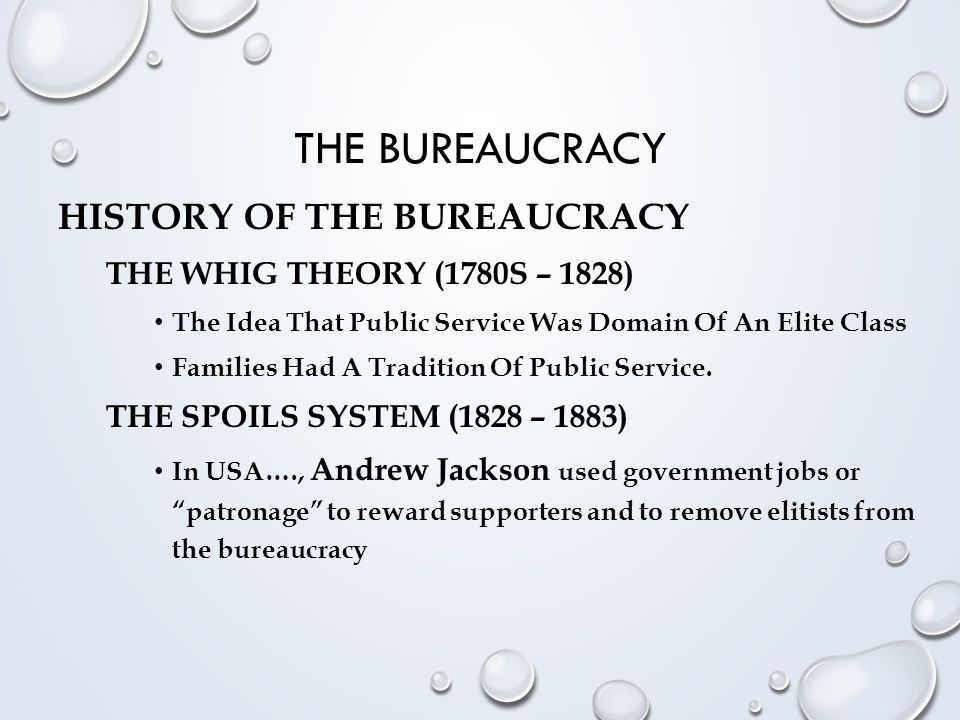THE BUREAUCRACY THE CIVIL SERVICE SYSTEM (1883 – PRESENT) The Pendleton Act (Civil Service Reform Act Of 1883) Established The Principle Of Employment On The Basis Of Merit And Created The Civil Service System To Oversee The Hiring And Firing Of Government Employees (Weber's, W.