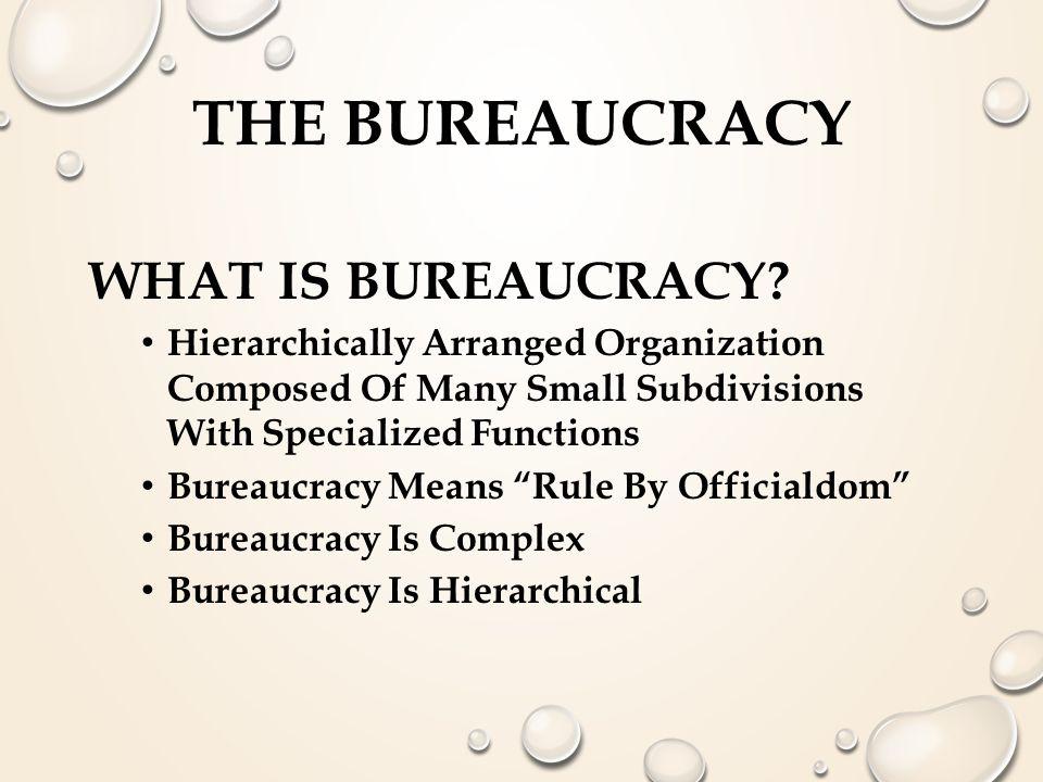 THE BUREAUCRACY (WEBER) 3- BENTUK OTORITAS Tradisional (Turun Temurun-diwariskan) Kharismatik (Legitimasi Personal) Legal-rasional (Legitimasi-rule Of Law) BIROKRASI  4 KARAKTER : -HYRARCHY -KONTINUITAS -IMPERSONALITY -EXPERTISE Melekat pada tiap praktek organisasi public & privat