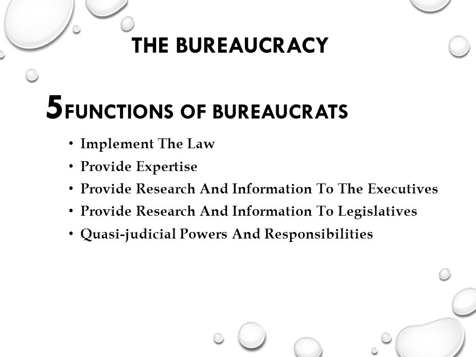 THE BUREAUCRACY 5 FUNCTIONS OF BUREAUCRATS Implement The Law Provide Expertise Provide Research And Information To The Executives Provide Research And