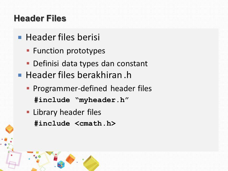 Header Files  Header files berisi  Function prototypes  Definisi data types dan constant  Header files berakhiran.h  Programmer-defined header files #include myheader.h  Library header files #include