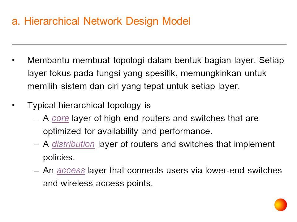 a. Hierarchical Network Design Model Membantu membuat topologi dalam bentuk bagian layer.