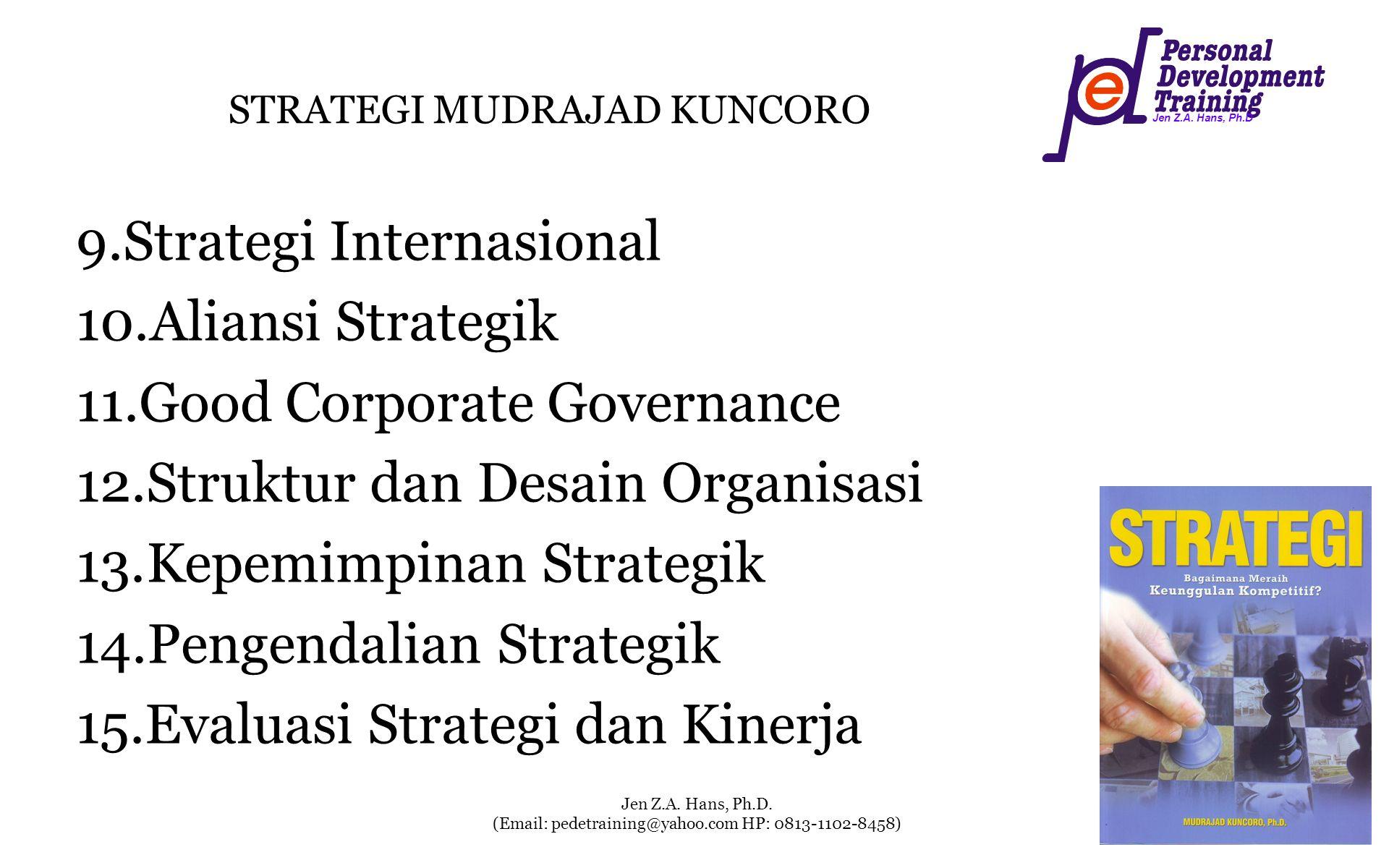 Jen Z.A. Hans, Ph.D Jen Z.A. Hans, Ph.D. (Email: pedetraining@yahoo.com HP: 0813-1102-8458) STRATEGI MUDRAJAD KUNCORO 9.Strategi Internasional 10.Alia