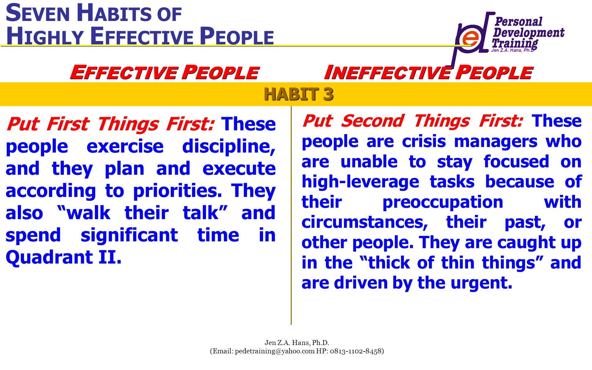 Jen Z.A. Hans, Ph.D Jen Z.A. Hans, Ph.D. (Email: pedetraining@yahoo.com HP: 0813-1102-8458) Put First Things First: These people exercise discipline,
