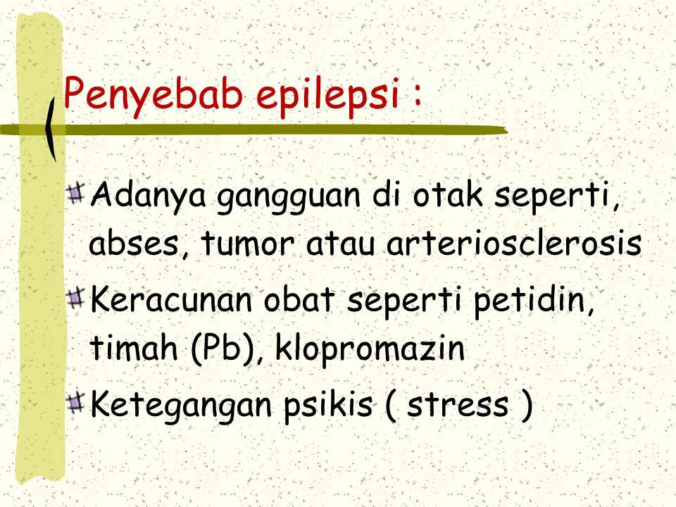 Penyebab epilepsi : Adanya gangguan di otak seperti, abses, tumor atau arteriosclerosis Keracunan obat seperti petidin, timah (Pb), klopromazin Ketegangan psikis ( stress )