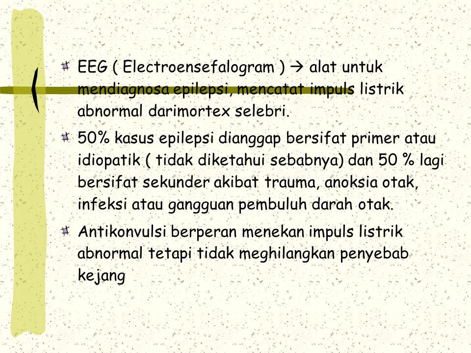 EEG ( Electroensefalogram )  alat untuk mendiagnosa epilepsi, mencatat impuls listrik abnormal darimortex selebri. 50% kasus epilepsi dianggap bersif
