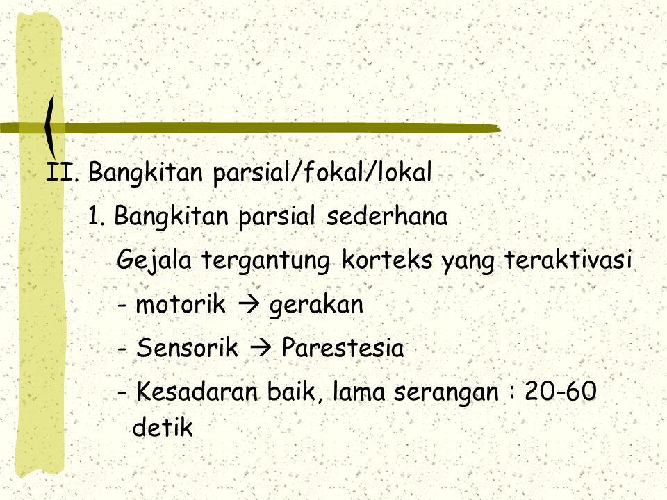 II.Bangkitan parsial/fokal/lokal 1.