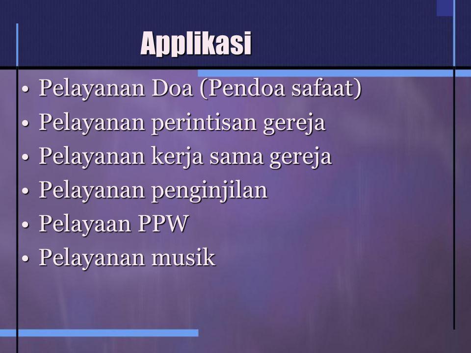 Applikasi Pelayanan Doa (Pendoa safaat)Pelayanan Doa (Pendoa safaat) Pelayanan perintisan gerejaPelayanan perintisan gereja Pelayanan kerja sama gerejaPelayanan kerja sama gereja Pelayanan penginjilanPelayanan penginjilan Pelayaan PPWPelayaan PPW Pelayanan musikPelayanan musik