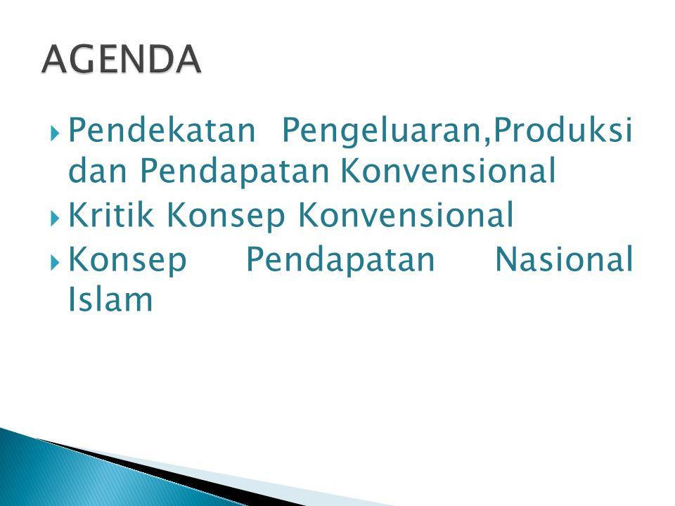  Pendekatan Pengeluaran,Produksi dan Pendapatan Konvensional  Kritik Konsep Konvensional  Konsep Pendapatan Nasional Islam