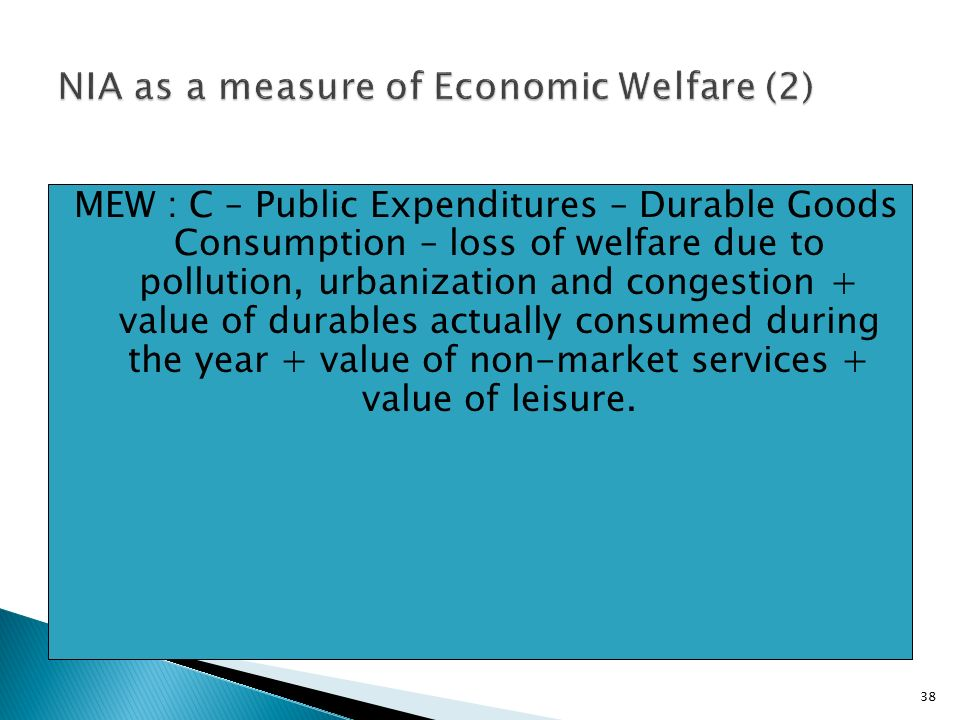 38 MEW : C – Public Expenditures – Durable Goods Consumption – loss of welfare due to pollution, urbanization and congestion + value of durables actually consumed during the year + value of non-market services + value of leisure.