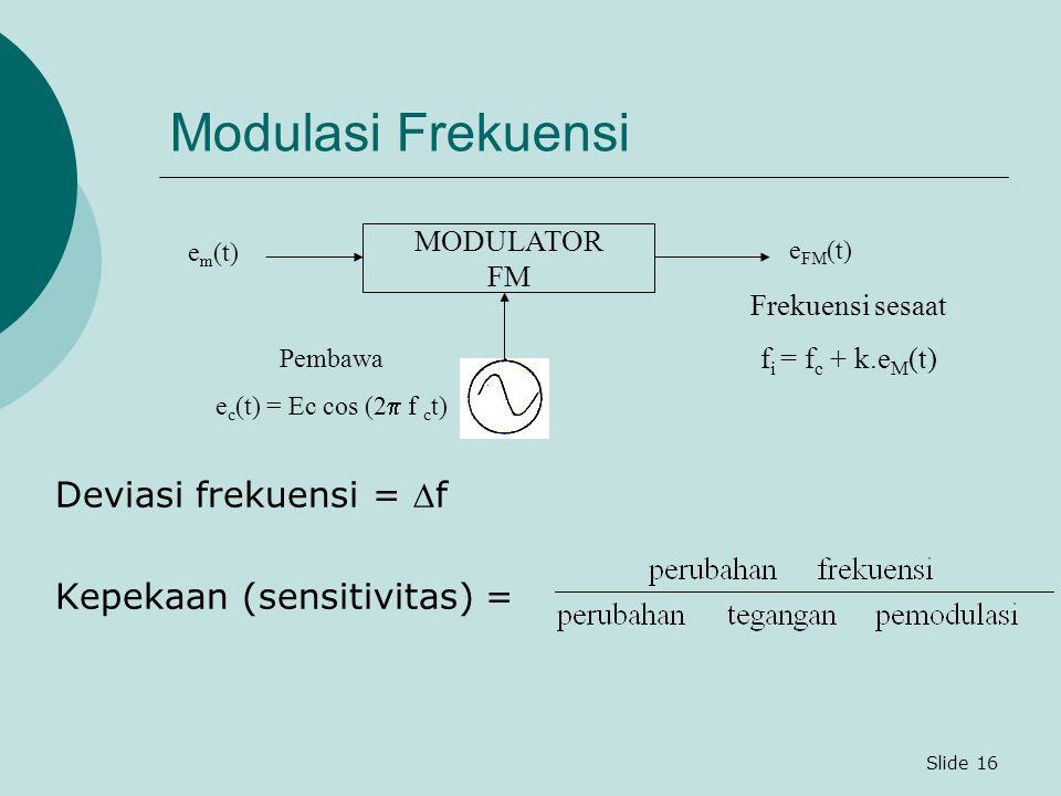 Slide 16 Modulasi Frekuensi Deviasi frekuensi = f Kepekaan (sensitivitas) = Frekuensi sesaat f i = f c + k.e M (t) MODULATOR FM e m (t) e FM (t) Pemb
