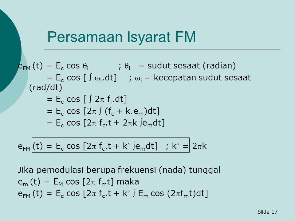 Slide 17 Persamaan Isyarat FM e FM (t) = E c cos  i ;  i = sudut sesaat (radian) = E c cos [   i.dt] ;  i = kecepatan sudut sesaat (rad/dt) = E c