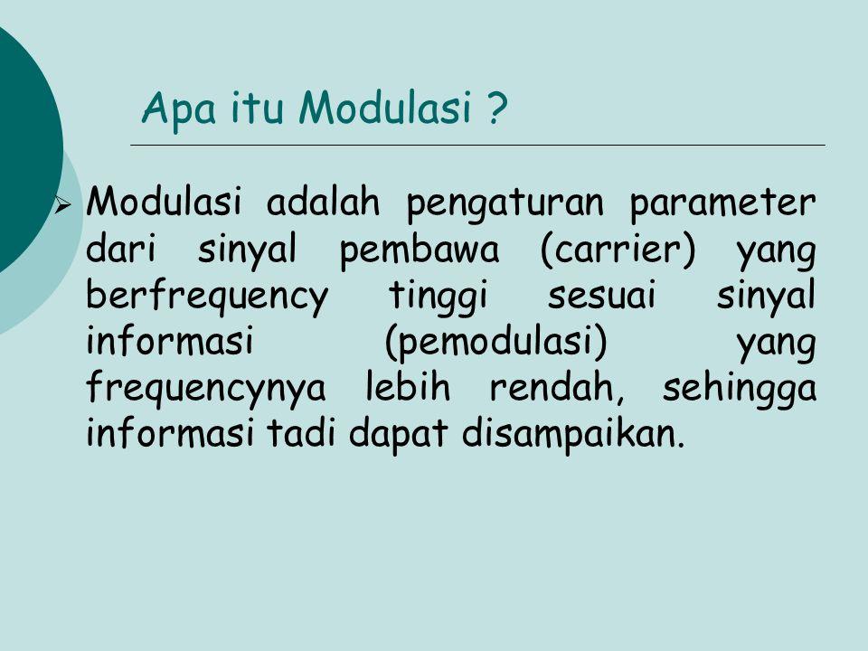 Apa itu Modulasi ?  Modulasi adalah pengaturan parameter dari sinyal pembawa (carrier) yang berfrequency tinggi sesuai sinyal informasi (pemodulasi)
