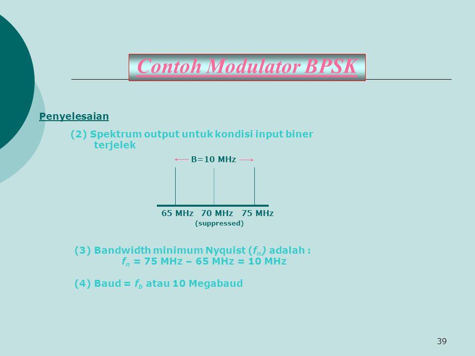 39 Contoh Modulator BPSK Penyelesaian (2) Spektrum output untuk kondisi input biner terjelek B=10 MHz 65 MHz 70 MHz 75 MHz (suppressed) (3) Bandwidth