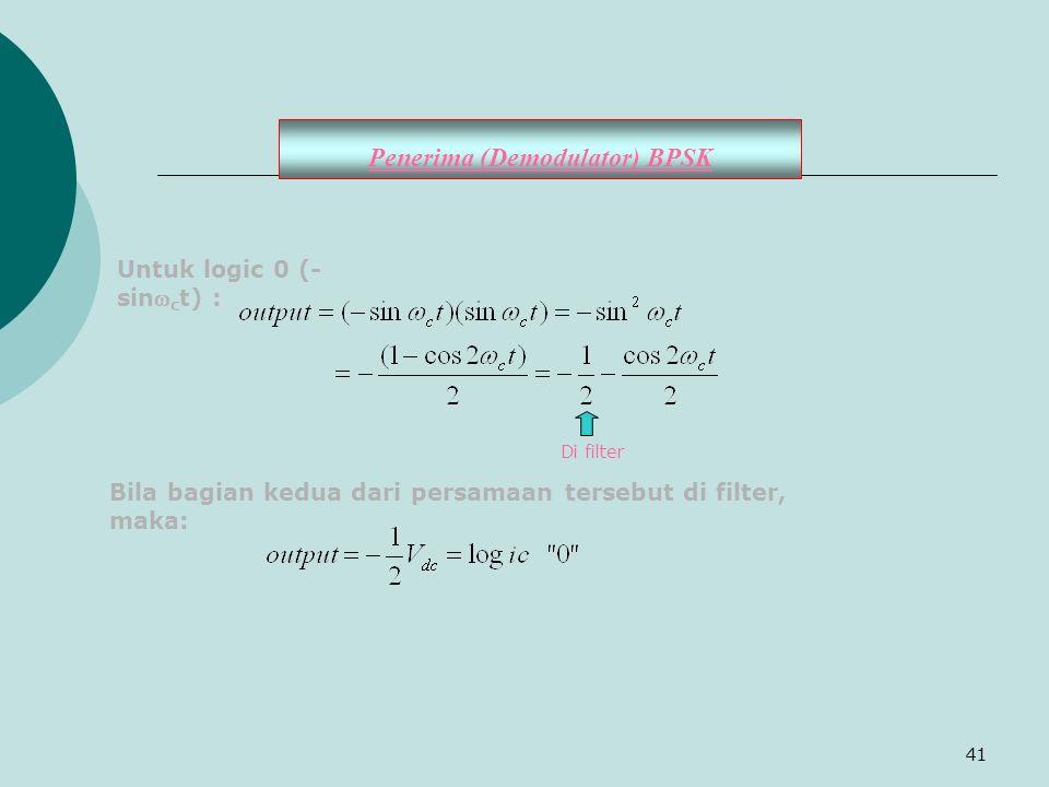 41 Untuk logic 0 (- sin c t) : Di filter Bila bagian kedua dari persamaan tersebut di filter, maka: Penerima (Demodulator) BPSK