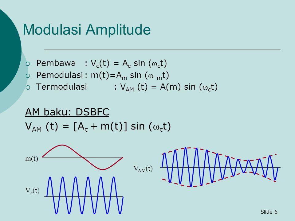 Slide 7 Modulasi Amplitude (lanj.) Untuk m(t) = A m sin ( m t) maka V AM (t) = [A c + A m sin ( m t)] sin ( c t) = A c [1 + sin ( m t)] sin ( c t) V AM (t) = A c [1 + m sin ( m t)] sin ( c t) V AM (t) = A c sin ( c t) + mA c sin ( m t) sin ( c t) = A c sin ( c t) + A c cos ( c +  m )t – A c cos( c -  m )t