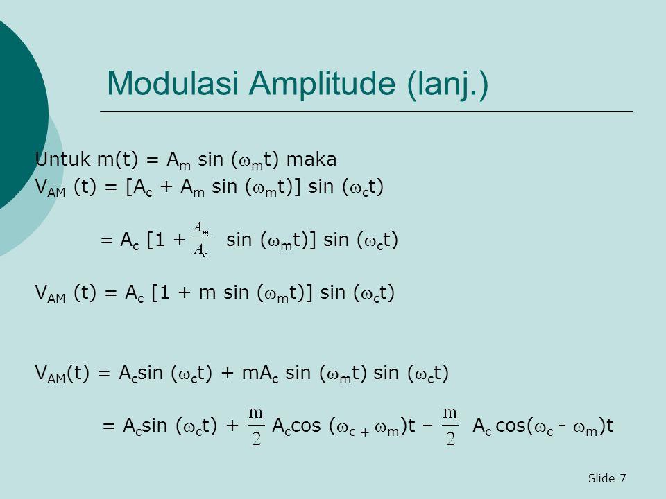Slide 7 Modulasi Amplitude (lanj.) Untuk m(t) = A m sin ( m t) maka V AM (t) = [A c + A m sin ( m t)] sin ( c t) = A c [1 + sin ( m t)] sin ( c t