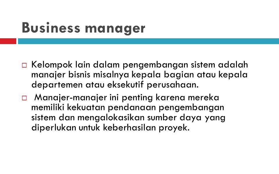 Business manager  Kelompok lain dalam pengembangan sistem adalah manajer bisnis misalnya kepala bagian atau kepala departemen atau eksekutif perusahaan.