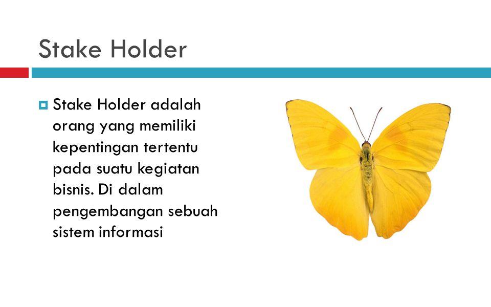 Stake Holder  Stake Holder adalah orang yang memiliki kepentingan tertentu pada suatu kegiatan bisnis.