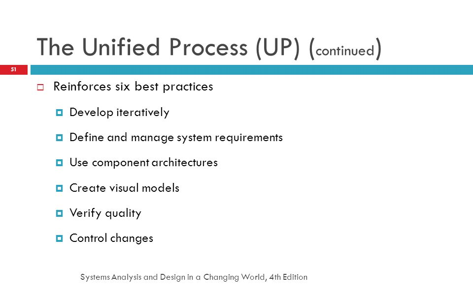 Systems Analysis and Design in a Changing World, 4th Edition 51 The Unified Process (UP) ( continued )  Reinforces six best practices  Develop itera