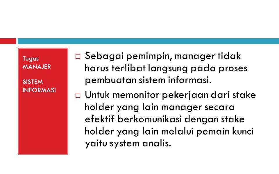 Tugas MANAJER SISTEM INFORMASI  Sebagai pemimpin, manager tidak harus terlibat langsung pada proses pembuatan sistem informasi.