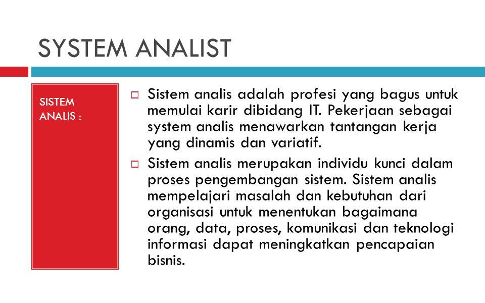 SYSTEM ANALIST SISTEM ANALIS :  Sistem analis adalah profesi yang bagus untuk memulai karir dibidang IT.