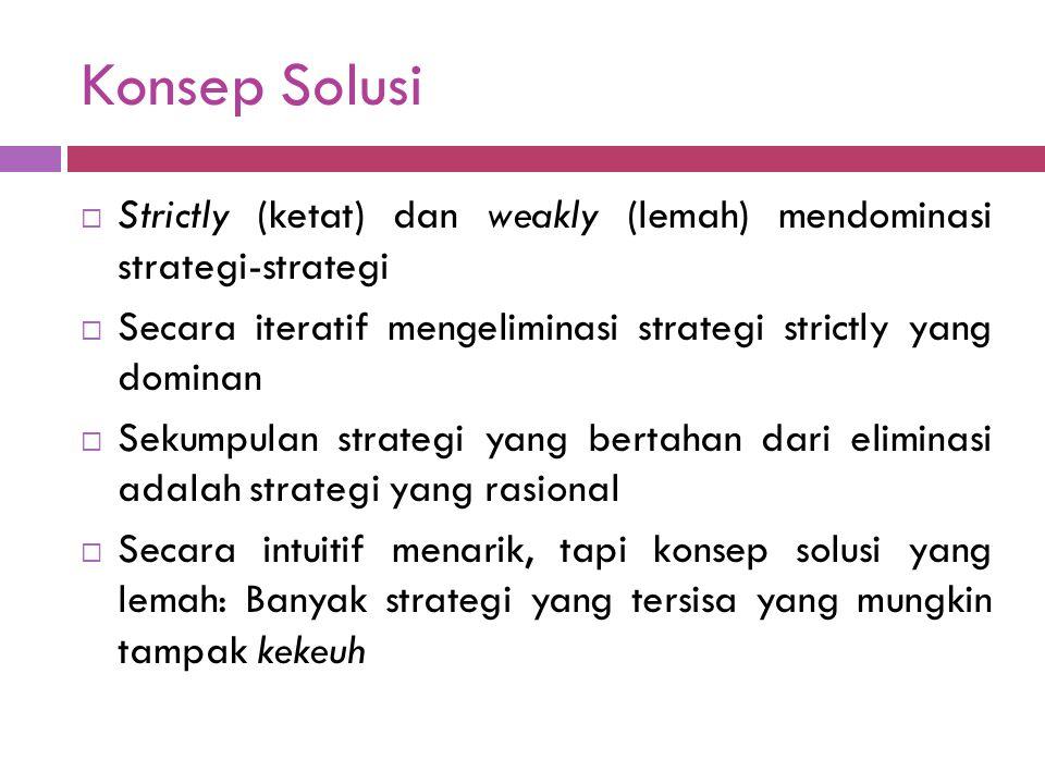 Konsep Solusi  Strictly (ketat) dan weakly (lemah) mendominasi strategi-strategi  Secara iteratif mengeliminasi strategi strictly yang dominan  Sekumpulan strategi yang bertahan dari eliminasi adalah strategi yang rasional  Secara intuitif menarik, tapi konsep solusi yang lemah: Banyak strategi yang tersisa yang mungkin tampak kekeuh