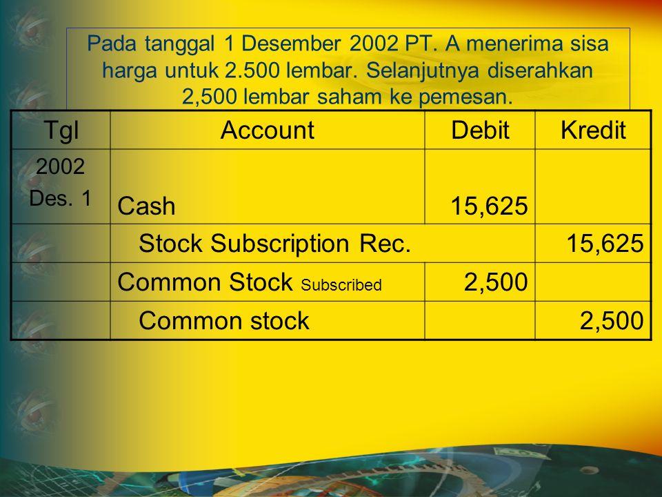 Pada tanggal 1 Desember 2002 PT. A menerima sisa harga untuk 2.500 lembar.