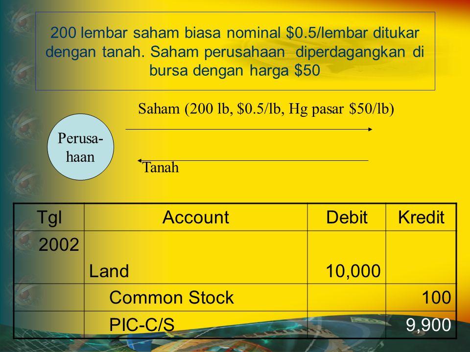 200 lembar saham biasa nominal $0.5/lembar ditukar dengan tanah.