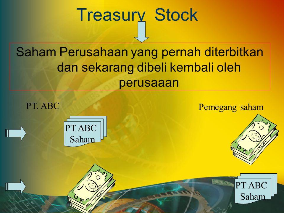 Treasury Stock Saham Perusahaan yang pernah diterbitkan dan sekarang dibeli kembali oleh perusaaan PT ABC Saham PT.