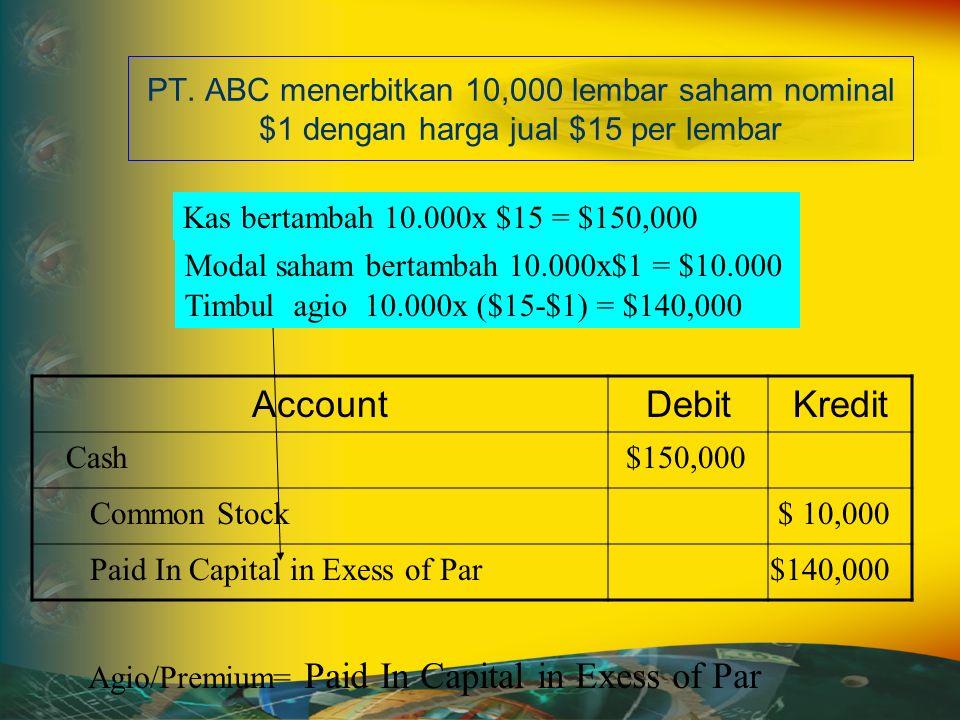 PT. ABC menerbitkan 10,000 lembar saham nominal $1 dengan harga jual $15 per lembar AccountDebitKredit Agio/Premium= Paid In Capital in Exess of Par K