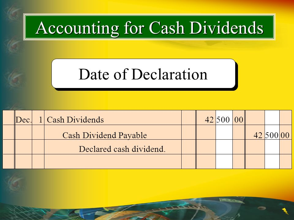 Dec.1Cash Dividends 42 500 00 Declared cash dividend. Cash Dividend Payable42 500 00 Date of Declaration Accounting for Cash Dividends