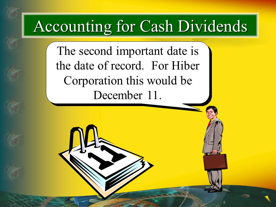 The second important date is the date of record. For Hiber Corporation this would be December 11. Accounting for Cash Dividends