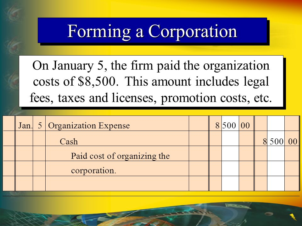 Forming a Corporation On January 5, the firm paid the organization costs of $8,500. This amount includes legal fees, taxes and licenses, promotion cos