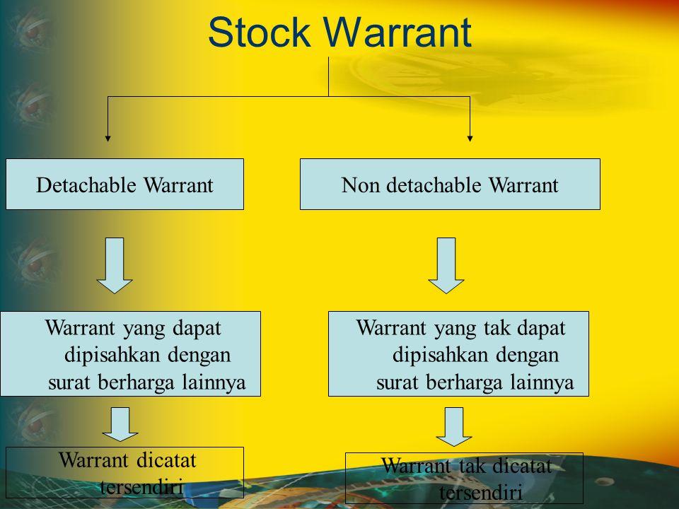 Stock Warrant Non detachable WarrantDetachable Warrant Warrant yang dapat dipisahkan dengan surat berharga lainnya Warrant yang tak dapat dipisahkan dengan surat berharga lainnya Warrant dicatat tersendiri Warrant tak dicatat tersendiri