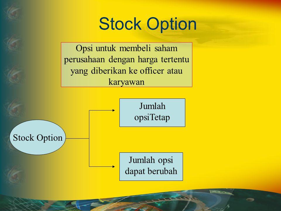 Stock Option Opsi untuk membeli saham perusahaan dengan harga tertentu yang diberikan ke officer atau karyawan Stock Option Jumlah opsiTetap Jumlah opsi dapat berubah