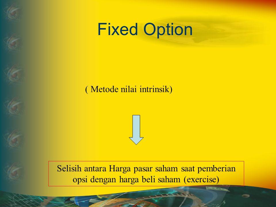 Fixed Option ( Metode nilai intrinsik) Selisih antara Harga pasar saham saat pemberian opsi dengan harga beli saham (exercise)
