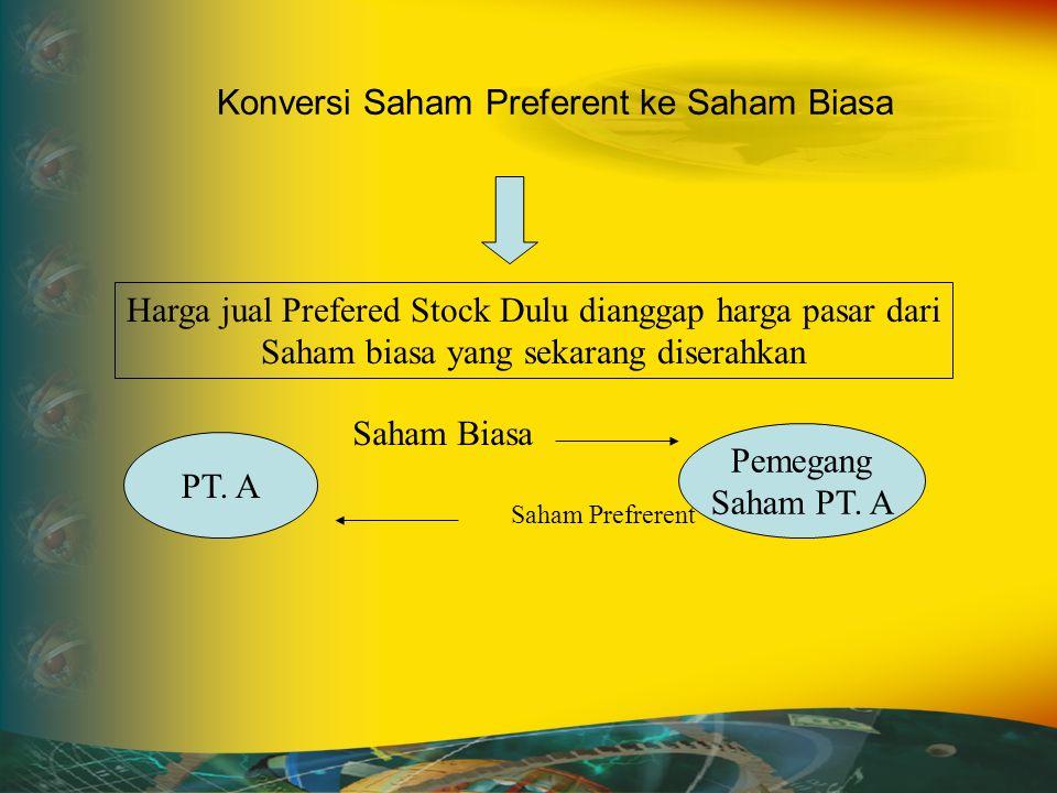 Konversi Saham Preferent ke Saham Biasa Harga jual Prefered Stock Dulu dianggap harga pasar dari Saham biasa yang sekarang diserahkan PT.