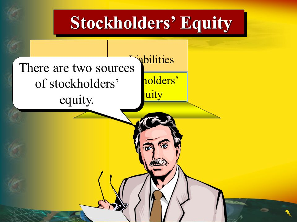 Stockholders' Equity: Paid-in capital: Common stock$xxxxx Retained earnings xxxx Total$xxxxx 1 Stockholderinvestments Stockholders' Equity Stockholders' Equity Assets Liabilities Stockholders' Equity Stockholders' Equity