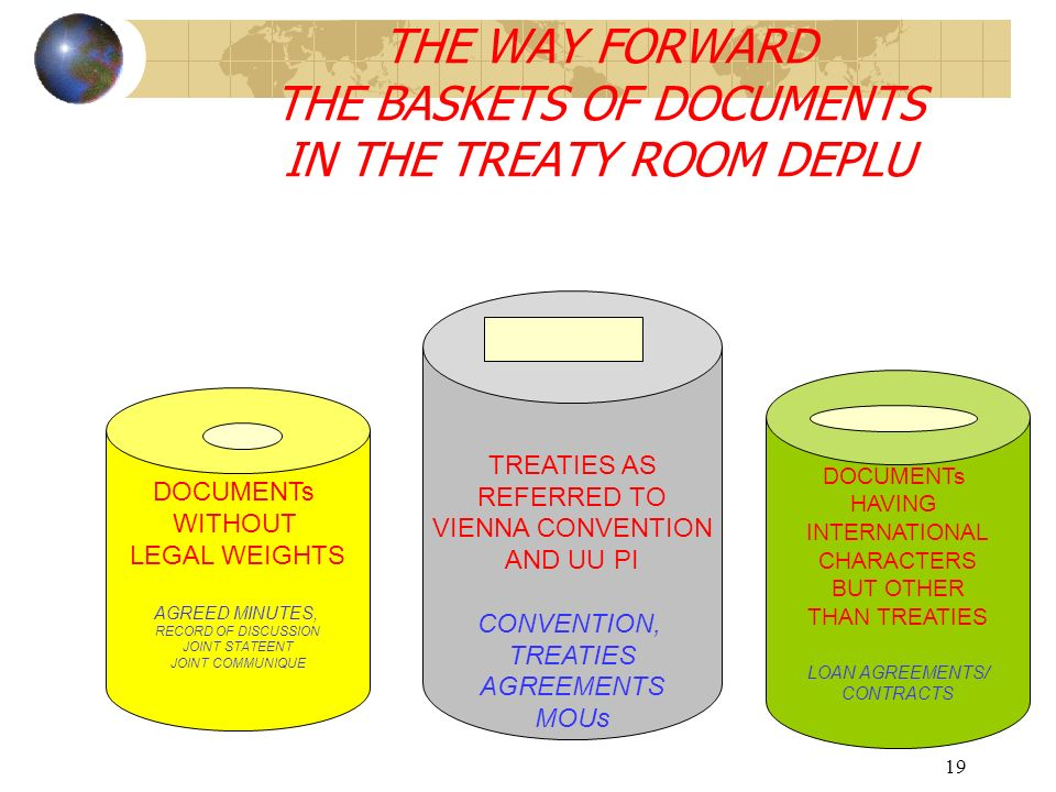 19 THE WAY FORWARD THE BASKETS OF DOCUMENTS IN THE TREATY ROOM DEPLU DOCUMENTs WITHOUT LEGAL WEIGHTS AGREED MINUTES, RECORD OF DISCUSSION JOINT STATEENT JOINT COMMUNIQUE DOCUMENTs HAVING INTERNATIONAL CHARACTERS BUT OTHER THAN TREATIES LOAN AGREEMENTS/ CONTRACTS TREATIES AS REFERRED TO VIENNA CONVENTION AND UU PI CONVENTION, TREATIES AGREEMENTS MOUs