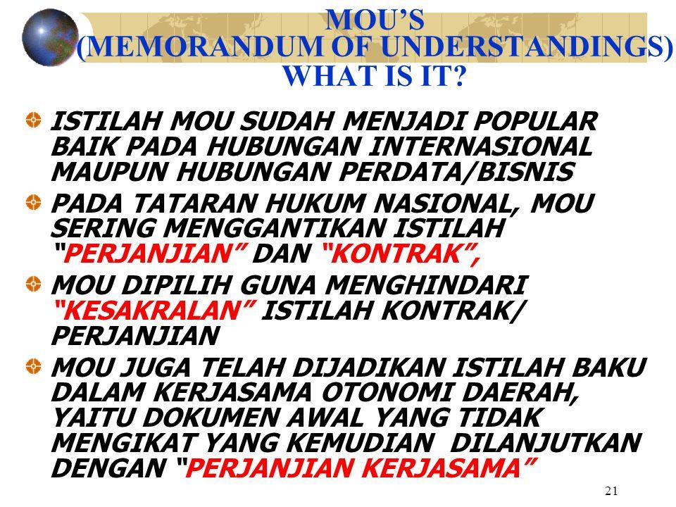 21 MOU'S (MEMORANDUM OF UNDERSTANDINGS) WHAT IS IT? ISTILAH MOU SUDAH MENJADI POPULAR BAIK PADA HUBUNGAN INTERNASIONAL MAUPUN HUBUNGAN PERDATA/BISNIS