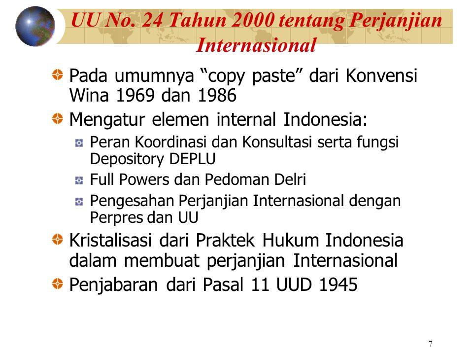 """7 UU No. 24 Tahun 2000 tentang Perjanjian Internasional Pada umumnya """"copy paste"""" dari Konvensi Wina 1969 dan 1986 Mengatur elemen internal Indonesia:"""