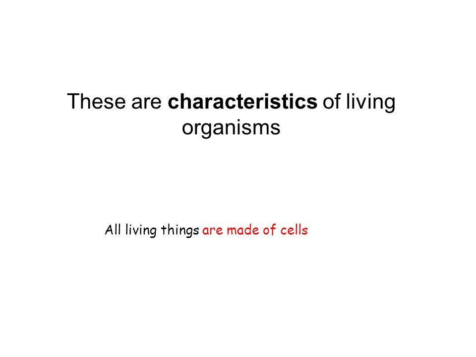 These are characteristics of living organisms All living things are made of cells