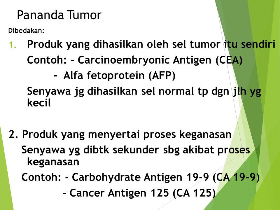 Pananda Tumor Dibedakan: 1. Produk yang dihasilkan oleh sel tumor itu sendiri Contoh: - Carcinoembryonic Antigen (CEA) - Alfa fetoprotein (AFP) Senyaw
