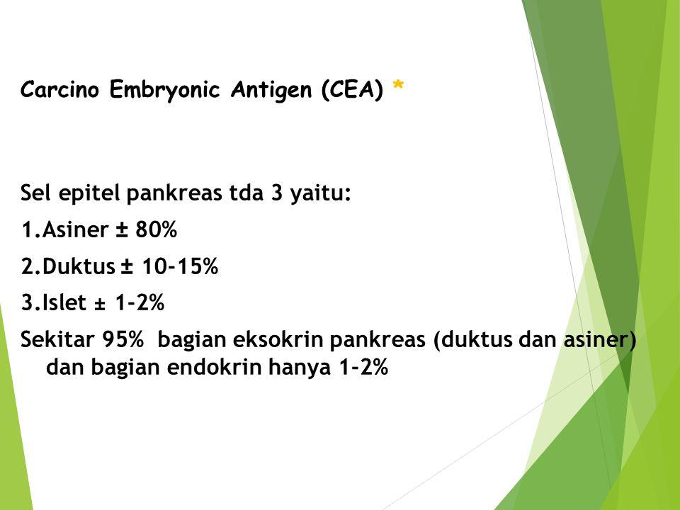 Carcino Embryonic Antigen (CEA) * Sel epitel pankreas tda 3 yaitu: 1.Asiner ± 80% 2.Duktus ± 10-15% 3.Islet ± 1-2% Sekitar 95% bagian eksokrin pankrea