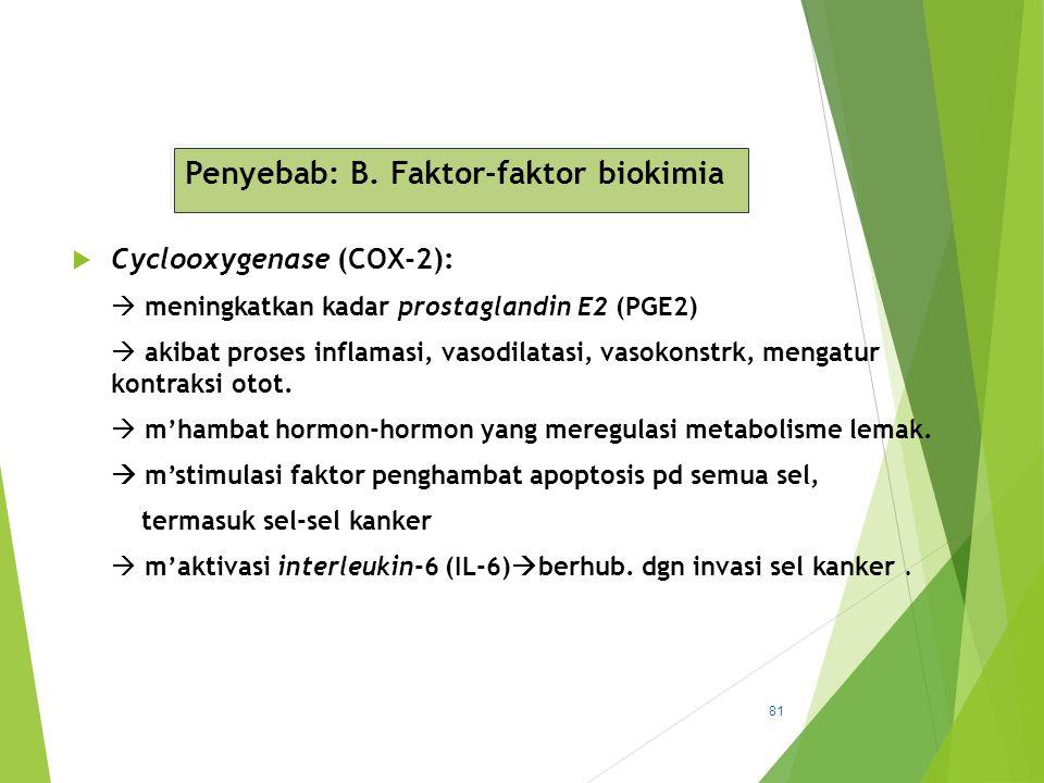Penyebab: B. Faktor-faktor biokimia  Cyclooxygenase (COX-2):  meningkatkan kadar prostaglandin E2 (PGE2)  akibat proses inflamasi, vasodilatasi, va