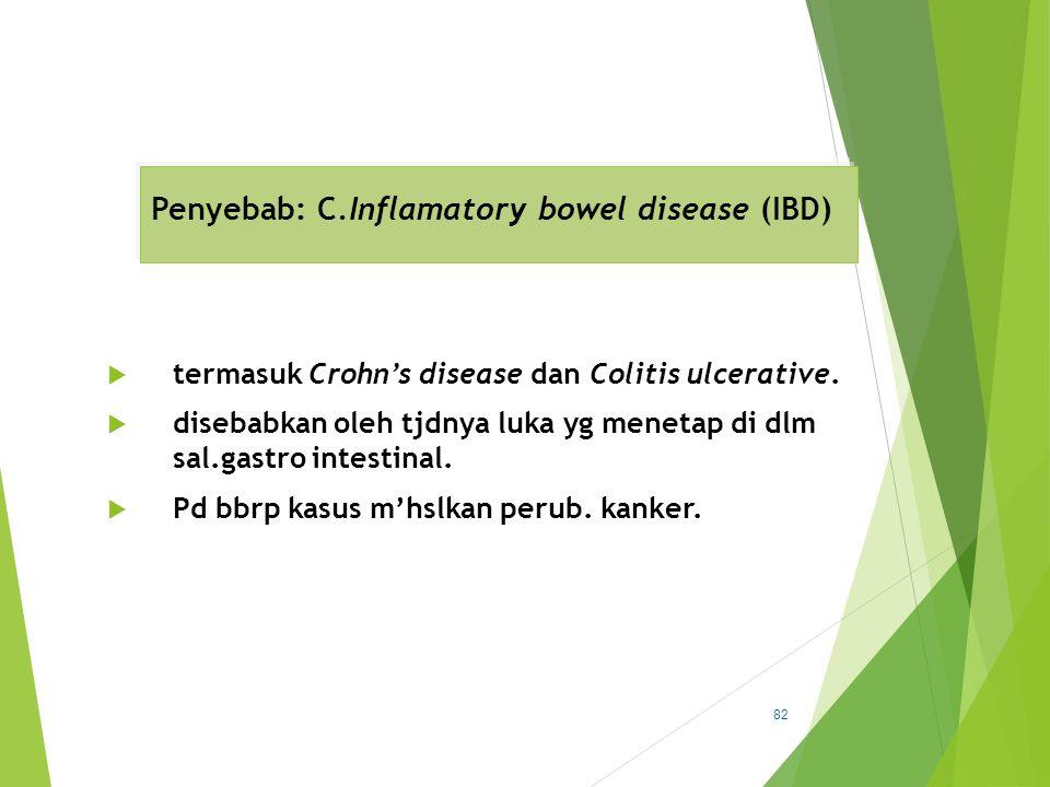 Penyebab: C.Inflamatory bowel disease (IBD)  termasuk Crohn's disease dan Colitis ulcerative.  disebabkan oleh tjdnya luka yg menetap di dlm sal.gas