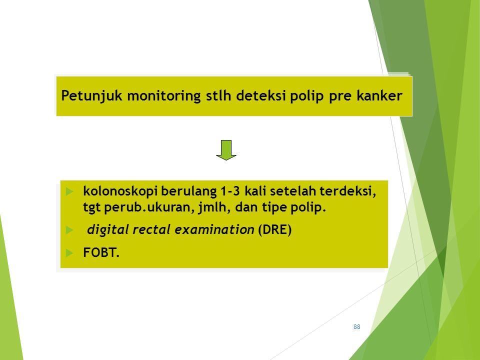 Petunjuk monitoring stlh deteksi polip pre kanker  kolonoskopi berulang 1-3 kali setelah terdeksi, tgt perub.ukuran, jmlh, dan tipe polip.  digital