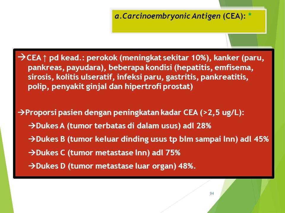 a.Carcinoembryonic Antigen (CEA): *  CEA ↑ pd kead.: perokok (meningkat sekitar 10%), kanker (paru, pankreas, payudara), beberapa kondisi (hepatitis,